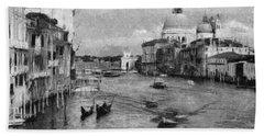 Bath Towel featuring the painting Vintage Venice Black And White by Georgi Dimitrov