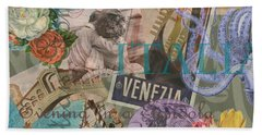 Venice Vintage Trendy Italy Travel Collage  Bath Towel