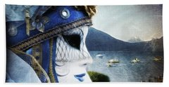 Venitian Carnival - La Dame Du Lac Hand Towel by Barbara Orenya