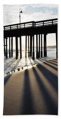 Hand Towel featuring the photograph Ventura Pier Shadows by Kyle Hanson
