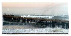 Bath Towel featuring the photograph Ventura Storm Pier by Henrik Lehnerer