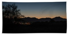 Bath Towel featuring the photograph Venus And A Young Moon Over Tucson by Dan McManus