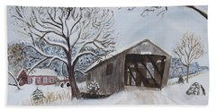 Vermont Covered Bridge In Winter Bath Towel by Donna Walsh