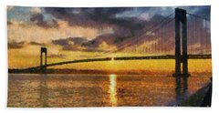Verrazano Bridge During Sunset Hand Towel
