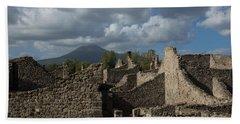 Vesuvius Towering Over The Pompeii Ruins Hand Towel