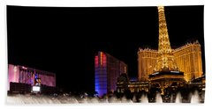 Vibrant Las Vegas - Bellagio's Fountains Paris Bally's And Flamingo Hand Towel
