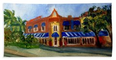 Vic And Angelos In Downtown Delray Beach Bath Towel by Donna Walsh