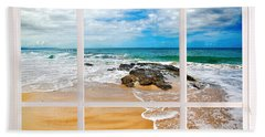 View From My Beach House Window Hand Towel by Kaye Menner