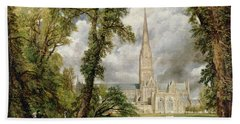 View Of Salisbury Cathedral From The Bishop's Grounds Hand Towel
