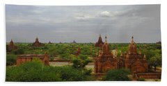 Bath Towel featuring the photograph View Of Smaller Temples Next To Dhammayazika Pagoda Built In 1196 By King Narapatisithu Bagan Burma by Ralph A  Ledergerber-Photography
