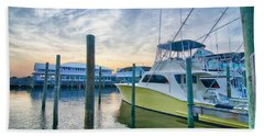 View Of Sportfishing Boats At Marina Hand Towel
