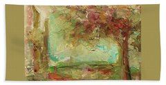 Hand Towel featuring the painting Villa by Mary Wolf