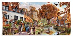 Village In Autumn Hand Towel