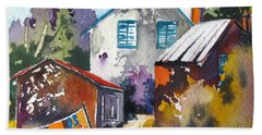 Bath Towel featuring the painting Village Life 1 by Rae Andrews