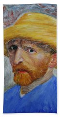 Vincent In Straw Hat Reproduction Bath Towel by Marna Edwards Flavell