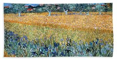 Field With Flowers Near Arles Hand Towel