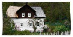 Vine Covered Cottage With Rustic Wooden Picket Fence Hand Towel