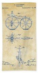 Vintage 1866 Velocipede Bicycle Patent Artwork Hand Towel