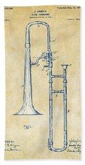 Vintage 1902 Slide Trombone Patent Artwork Hand Towel by Nikki Marie Smith