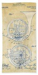 Vintage 1914 French Horn Patent Artwork Hand Towel