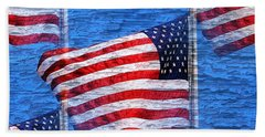 Hand Towel featuring the photograph Vintage Amercian Flag Abstract by Judy Palkimas