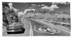 Vintage Car Moving On The Road, Route Hand Towel