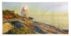Bath Towel featuring the photograph Vintage Castle Hill Light by Marianne Campolongo