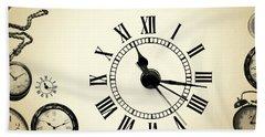 Vintage Clocks Bath Towel