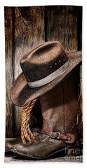 Vintage Cowboy Boots Bath Towel