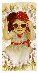 Vintage Fashion Girl Hand Towel by Irina Sztukowski