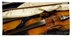 Vintage Fiddle In The Case Hand Towel