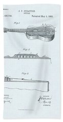 Guitar Patent Drawing On Blue Background Bath Towel