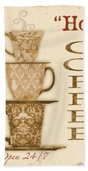 Vintage Hot Coffee Sign Bath Towel by Jean Plout