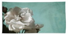 Hand Towel featuring the photograph Vintage Inspired White Roses On Aqua Blue Green - by Brooke T Ryan
