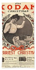 Vintage Kodak Christmas Card Hand Towel