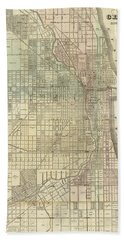 Vintage Map Of Chicago - 1857 Hand Towel