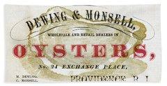Vintage Oyster Dealers Trade Card Bath Towel