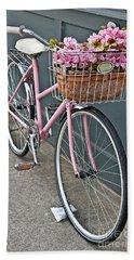 Vintage Pink Bicycle With Pink Flowers Art Prints Bath Towel