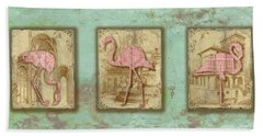 Vintage Pink Flamingo Trio-b Hand Towel