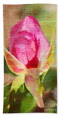 Hand Towel featuring the photograph Vintage Pink Rose Bud by Judy Palkimas