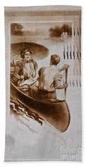Vintage Post Card Of Couple In Boat Art Prints Hand Towel