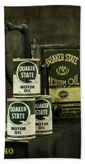 Vintage Quaker State Motor Oil Hand Towel by Betty Denise