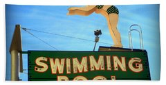 Vintage Swimming Lady Hotel Sign Hand Towel