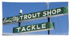 Vintage Trout Shop Sign West Yellowstone Bath Towel