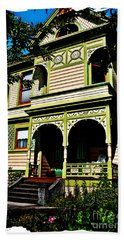 Vintage Victorian Home Watercolor Style Art Prints Bath Towel by Valerie Garner
