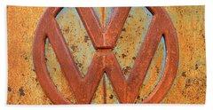 Vintage Volkswagen Bus Logo Hand Towel by Catherine Sherman