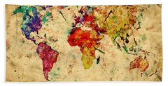 Vintage World Map Hand Towel