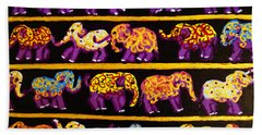 Bath Towel featuring the painting Violet Elephants by Cassandra Buckley