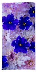 Violets And Mums Bath Towel