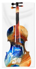 Violin Art By Sharon Cummings Bath Towel